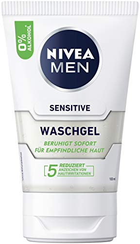 NIVEA MEN Sensitive Wash Gel (100 ml), Soap Free Cleansing Gel with Chamomile and Vitamin E for Sensitive Men's Skin, Soothing Facial Cleansing with 0% Alcohol