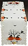 Creative Linens Halloween Table Runner 15x52, Embroidered Spooky Jack o Lantern Dresser Scarf for Fall Holiday Decoration, Ivory