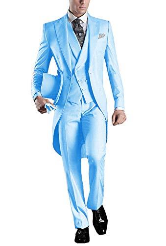 UMISS Herren Frack 3-teiliger Anzug One Button Peak Revers Hochzeitsanzug