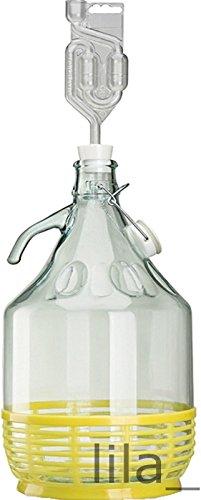lilawelt24 1 x Set 5L Bügelflasche + Stopfen + Gärröhrchen Weinballon Gärballon Glasflasche Bügelverschluß Gärbehälter