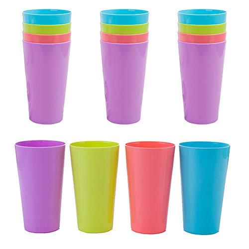 Vasos Plástico reutilizables,12 pcs Colores Camping vasos de colores para beber para fiestas en interiores, exteriores camping playa y picnic coloridos vasos apilables tazas para niños Anti-caída