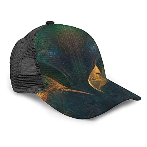 HARLEY BURTON Gorra de béisbol unisex con rejilla impresa digital dimensional pájaro verano ajustable empalme Hip Hop Cap Sun Hat negro