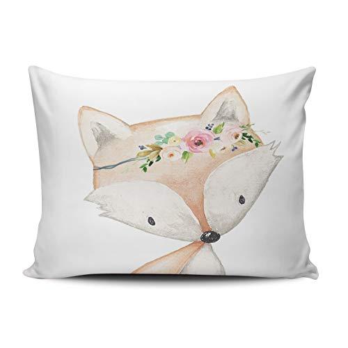 XIUBA Pillowcases Coral Pink and White Boho Fox Woodland Baby Girl Nursery Floral Customizable Decorative Rectangle 12x16 inch Boudoir Size Throw Pillow Case Hidden Zipper One Side Design Printed