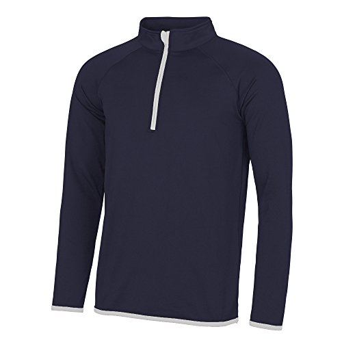 Awdis Just Cool - Sweatshirt à col zippé - Homme (2XL) (Bleu Marine/Blanc)