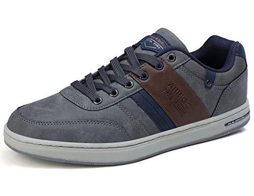 ARRIGO BELLO Zapatos Hombre Zapatillas para Vestir Casual Deportivas Confort PU Cuero Deporte Sneakers Talla 41-46(Gris Oscuro,43)