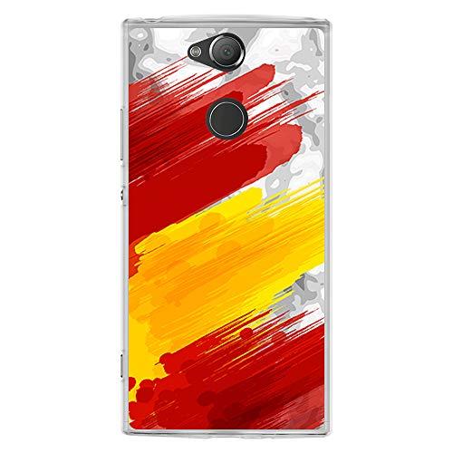 BJJ SHOP Funda Transparente para [ Sony Xperia XA2 ], Carcasa de Silicona Flexible TPU, diseño: Bandera españa, Pintura de brocha Sobre Fondo Abstracto