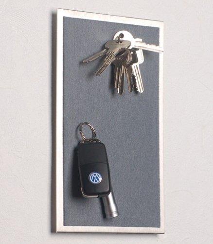 Porte-clés mural magnétique en acier inoxydable avec feutre gris foncé 25 x 15 cm