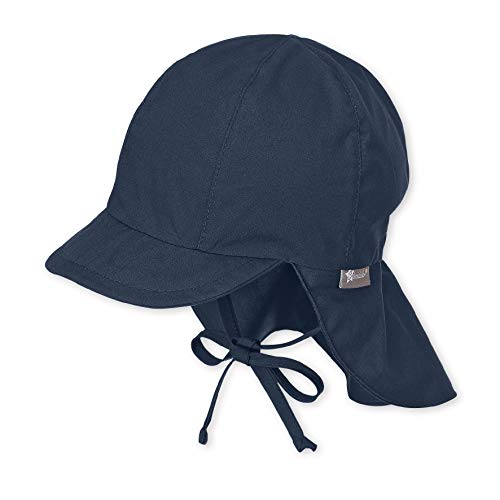 Sterntaler Unisex Schirmmütze mit Nackenschutz und Bindebändern, Alter: 9-12 Monate, Größe: 47, Blau (Marine)