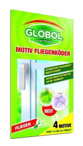Globol 81855100 Motiv-Fliegenköder für Fenster 4 Motive