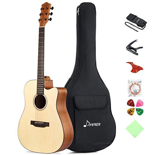 Donner Akustik Gitarre Starter Set Full Size, Akustikgitarre Cutaway 41 Zoll Natur Mahagoni Fichte mit Tasche Capo Plektren Gurt Saiten (DAG-1C)