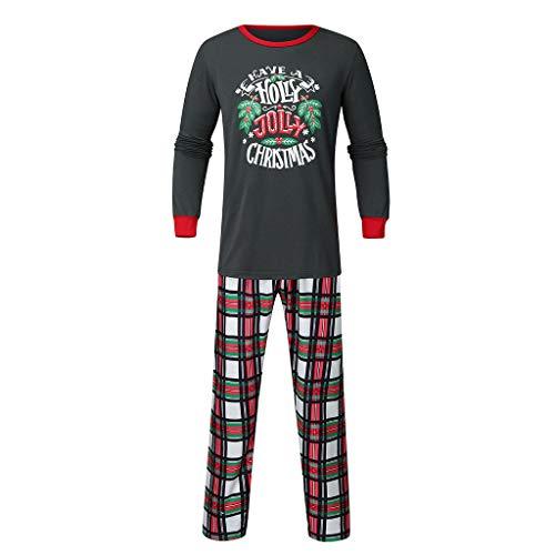 Weihnachten Schlafanzug Set,Baby Kleidung Pullover Pyjama Outfits Set Familie Brief Drucken Tops Frohe Weihnachten Plaid Print Trainingsanzug Familie passende Kleidung Outfits (Papa, XL)