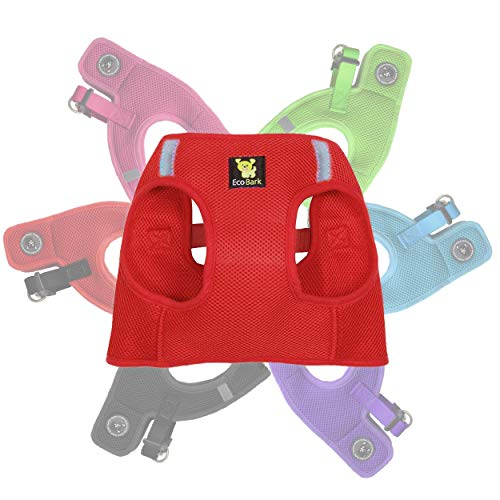 EcoBark Rapid Fastener Super Comfort Fully Adjustable Double Padded Step in Dog Harness (XXS, Red)