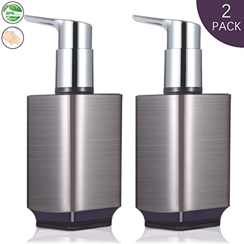 Boperzi 2 Pack Soap Dispenser Rust Proof Refillable Liquid Hand & Dish Soap Dispenser Set Leak Proof Plastic Pump for Kitchen Bathroom, 10oz