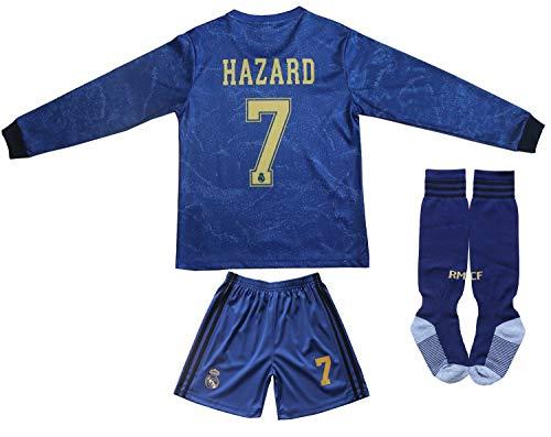 Memento 2019/2020 Real Madrid #7 Eden Hazard Auswärtstrikot Lange Ärmel Kinder Fußball Trikot Hose und Socken Kindergrößen (Heim, 24)