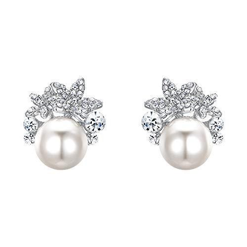 EVER FAITH® österreichischen Kristall elegant Braut Blume künstliche Perle Ohrring klar Silber-Ton A07216-2