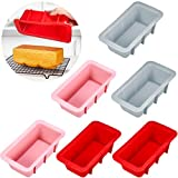 6 Pieces Mini Silicone Bread Loaf Pan Nonstick Loaf Cake Pans Silicone Bread Baking Mold for Homemade Cakes, Breads, Meatloaf and Quiche, 3 Colors