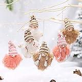 Makone Weihnachtspuppe, Weihnachtsbaum Spitzen gestrickte Plüschpuppe Weihnachtsanhänger kann für Christbaumschmuck, Geburtstagsfeier und Heimdekoration, Party usw. verwendet Werden(6 Stück)