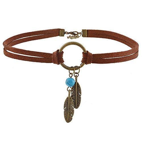 Mjartoria Collar bohemio nativo americano con colgante de plumas, piel de poliuretano, marrón