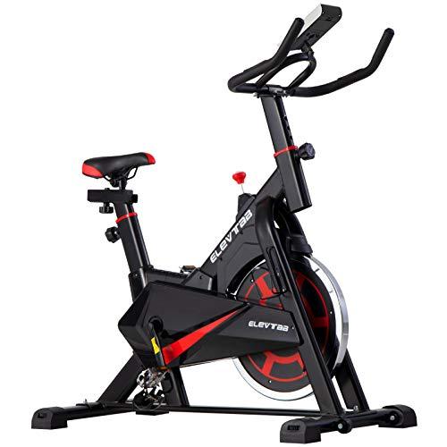 ER KANG Exercise Bike, Indoor Cycling Bike, Digital LCD Monitor Upgraded Version, Adjustable seat & Handle, 40lbs Flywheel for Home Cardio Workout Bike