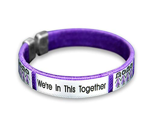 Fundraising For A Cause | Purple Ribbon Bangle Bracelets –Purple Ribbon Awareness Wristband Alzheimer's, Domestic Violence, Crohn's, Lupus, Cystic Fibrosis, Pancreatic Cancer Awareness (10 Bracelets)