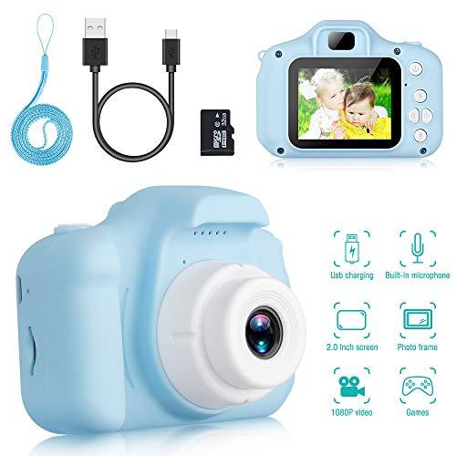 Komake Kinder Kamera, Kinder Digital Kamera Spielzeug Kleinkind Kamera Spielzeug 2 Zoll HD-Bildschirm 1080P 32 GB TF-Karte, Jungen und Mädchen Geschenke Spielzeug für 3 bis 12 Jahre alte (Blau)