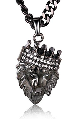 Halukakah ● Kings Landing ● Männlich Waffe-Schwarz Krone Löwe Anhänger Halskette mit Kostenloser 24