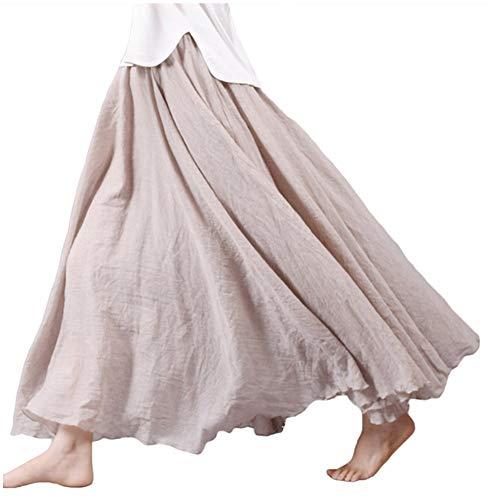 Asher Women's Bohemian Style Elastic Waist Band Cotton Linen Long Maxi Skirt Dress (95CM, Beige)