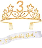 3rd Birthday Tiara and Sash gold, 3rd Birthday Gifts for girl, HAPPY 3rd Birthday Party Supplies, 3rd Birthday Girl Glitter Satin Sash and Crystal Tiara Birthday Crown for 3rd Birthday Party Supplies