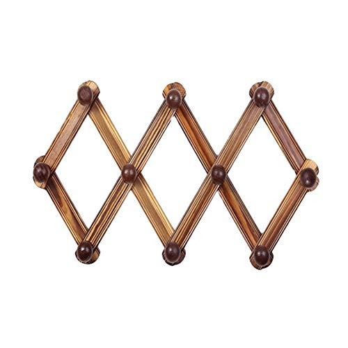 YUVWE Badkamer accessoires Hout Intrekbare Jas Rack Muur Gemonteerd Uitschuifbare Deur Achterwand Haak Home Button Hoed Hanger Paraplu Peg Rack