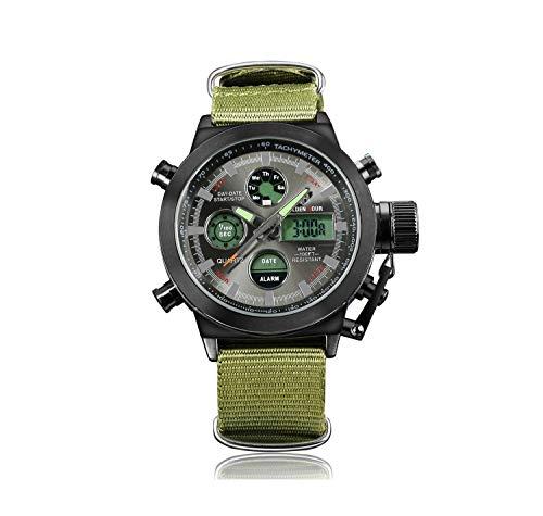 FQDQH Reloj de los Hombres, la Moda al Aire Libre de múltiples Funciones del Reloj electrónico, Reloj de Moda del Inconformista Lienzo (Color : Black+Nylon Belt)