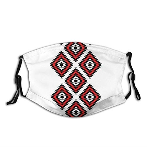 Comfortable Windproof mask,Native Design American Style Zig Zag Aztec Motifs With Ornaments Image,Printed Facial decorations for adult