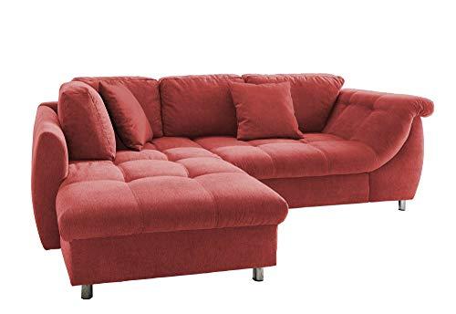 lifestyle4living Ecksofa mit Schlaffunktion in Rot mit großen Rücken-Kissen und Zierkissen, Microfaser-Stoff | Gemütliches L-Sofa mit Longchair im modernen Look
