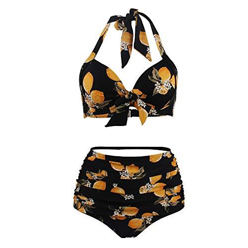 Chunmei Women's Sporty Swimwear Two-Piece Bikini Set Push Up Pads Bowknot Swimsuit High Waist Bikini Set Neckholder Backless Polka Dot Sexy Breathable Comfortable Elegant Beachwear XL