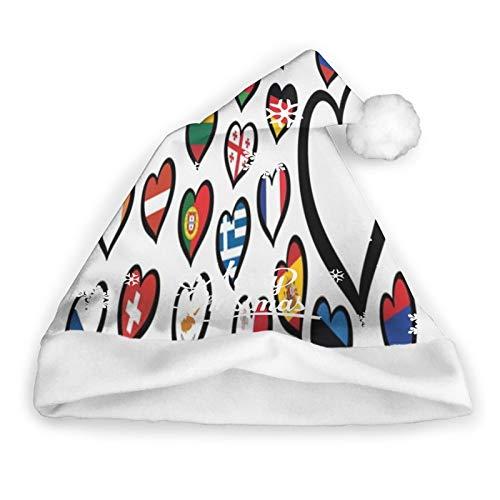 Festival De La Cancin Festival De La Cancin De Europa Competencia De Eurovisin 2019 Smbolo Del Logotipo Sombrero De Pap Noel Para Nios Y Adultos, Navidad Sombreros De Navidad Gorra Divertida Y N
