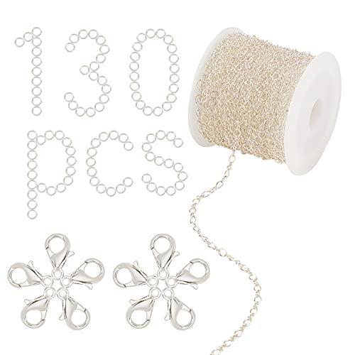 SUNNYCLUE Figaro - Kit de fabricación de collar de cadena de cable de plata de 10 mm, cierre de pinza de langosta, anillos de salto a granel para mujeres y adultos