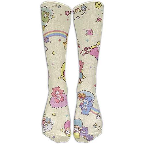 Calcetines deportivos de algodón con estampado de estrellas gemelas para mujer