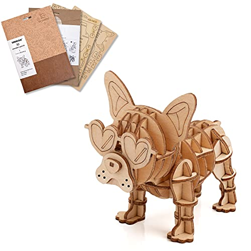 3D Wooden Puzzle, SFFRY Funny Mechanical Puzzles for Adult and Teen Model Kit Educational Toy Building Engineering Set Christmas Birthday Gift for Boys Girl Kids Friends, French Bulldog Model