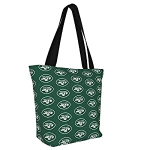 Aeesde New_York_Jets Cotton Canvas Tote Bag Large For Women Travel Work Shopping Grocery Shopping Outdoors