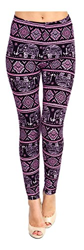 Printed Leggings (Black Pink Elephant March)