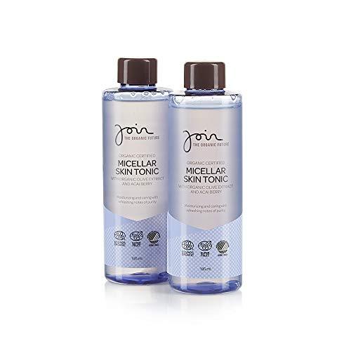 Join - Biozertifiziertes mizellares Gesichtstonikum mit Olivenextrakt und Acaibeeren - Packung mit 2 Flaschen à 195 ml.