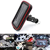 Motorcycle Phone Mount Holder Waterproof Cell Phone Touch Case Pouch with Zipper Pocket Card Slots and Fork Stem Mount Base, Fit for Device Screen up to 7 Inch