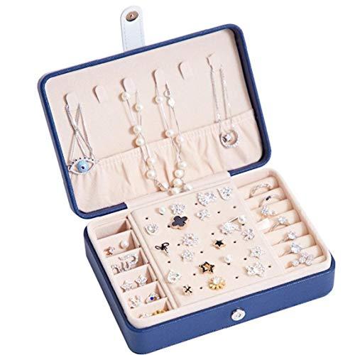 LjzlSxMF PU joyería Caja, portátil Pendientes del Collar Anillos de exhibición de la joyería de Almacenamiento de la Caja del Organizador para Muchachas de Las Mujeres (Azul Oscuro)
