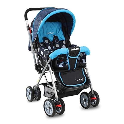 LuvLap Sunshine Stroller/Pram, with Mosquito net, for Newborn Baby/Kids, 0-3 Years (Sky Blue)