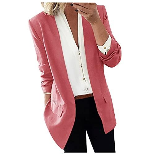 SMKY Chaqueta de mujer de un solo color, capa larga, blazer para mujer, informal, ropa de oficina al aire libre, Rosa., M