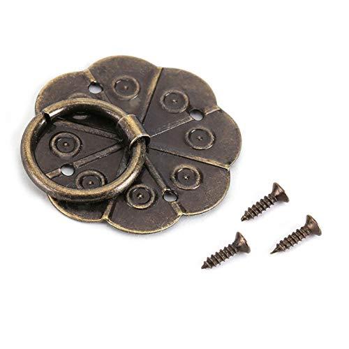 Maniglia per mobili 20Pcs Maniglie per porte in ferro Classico antico a forma di fiore di prugna Tira con anello in metallo Maniglie per hardware universali per cassetti per armadietto Porta(3*3cm)