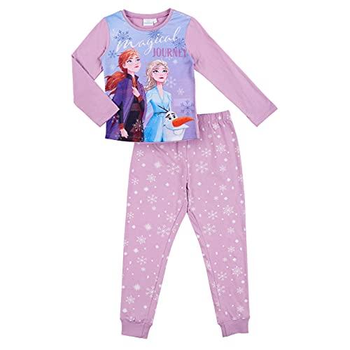 Eiskönigin Schlafanzug Pyjama Langarm Mädchen (Rosa, 122)