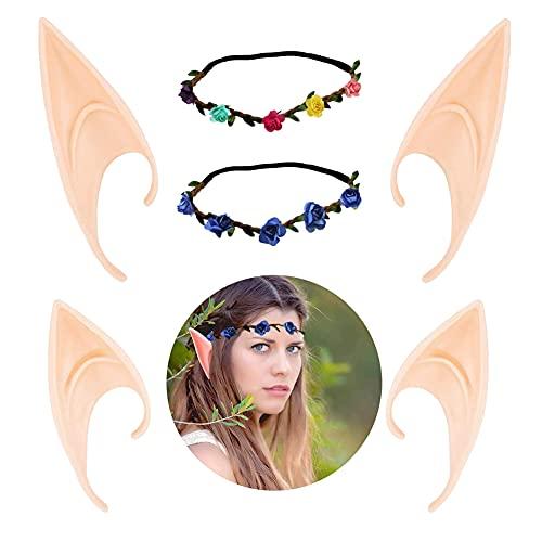 Accesorios para disfraz de cosplay, juego de 4 piezas de orejas de elfo, accesorios de elfo, 2 pares de orejas de elfo, 2 guirnaldas, juego de orejas de ltex, orejas de punta para mujer