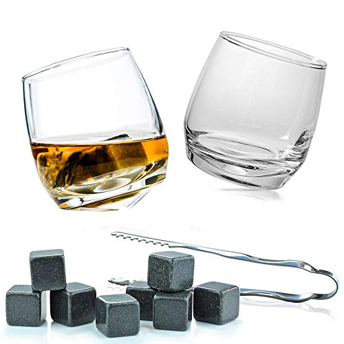 Flow Barware Deluxe Whiskygläser und Whiskysteine, in Geschenkbox aus Holz, italienisches Vintage-Kristallglas für Scotch, Bourbon, Gin & Tonic sowie Cocktails - 6