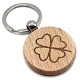 MORWE - Schlüsselanhänger aus Holz mit Kleeblatt-Gravur/Schlüsselanhänger Holz/Schlüsselanhänger Glücksbringer/Holzanhänger mit Kleeblatt/Schlüssel Anhänger als Geschenk