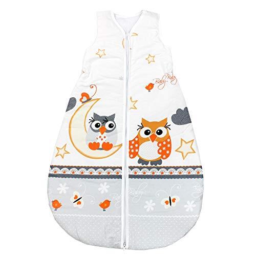 TupTam Unisex Baby Schlafsack ohne Ärmel Wattiert, Farbe: Eulen Grau, Größe: 80-86